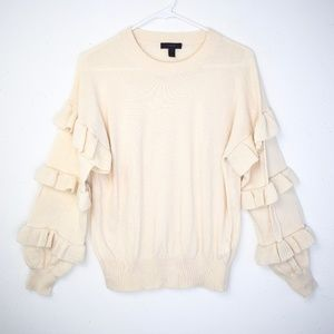 J. Crew Cream Ruffle Sleeve Sweater